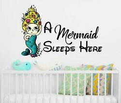 A Mermaid Sleeps Here Wall Decals Quote Full Color Mermaid Girls Decor NS2017 $36.99