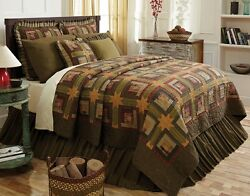 9PC TEA CABIN Luxury King Green Plaid Quilt Set - SAVE 15% INSTANTLY!!