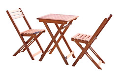 Outdoor Patio Furniture Bistro Set Wood 3 Piece Table and Two Chairs Deck Decor