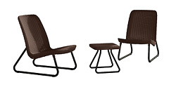 Outdoor Patio Furniture 3PC Brown One Table and Two Chairs Deck Garden Decor Set