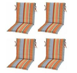 Orange Blue Stripe Sling Patio Chair Cushions Set of 4 Outdoor Replacement Pads