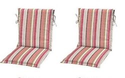 Coral Stripe Sling Patio Chair Cushions Set 2 Outdoor Replacement Cushion Pads
