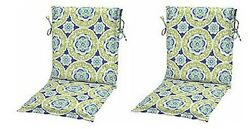 Green Blue Sling Patio Chair Cushions Set of 2 Outdoor Replacement Dining Pads