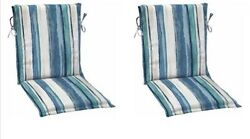 Blue Stripe Sling Patio Chair Cushion Set 2 Outdoor Replacement Dining Cushions