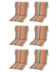 Orange Blue Stripe Sling Patio Chair Cushions Set of 6 Outdoor Replacement Pads