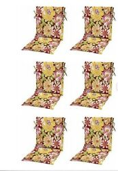 Floral Sling Patio Chair Cushion Set 6 Outdoor Replacement Chairs Cushions Pads