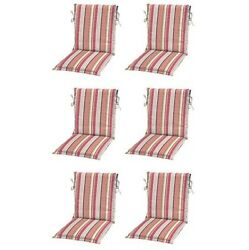 Coral Stripe Sling Patio Chair Cushions Set 6 Outdoor Replacement Cushion Pads