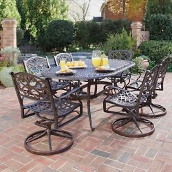 7 Piece Bronze Cast Aluminum Outdoor Patio Deck Dining Set w 6 Swivel Chairs