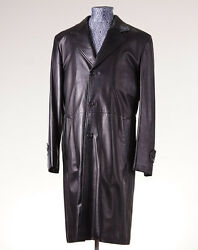 NWT $7500 BRIONI Black Calf Leather Overcoat with Wool-Cashmere Lining 50M Coat