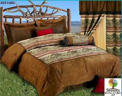 7pc Comforter Set Deer Wildlife Buck Deer & Doe Lodge Cabin Bedding Decor