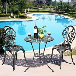 Wrought Iron Patio Set Bistro Table Chairs 3 Pcs Outdoor Garden Furniture Pool