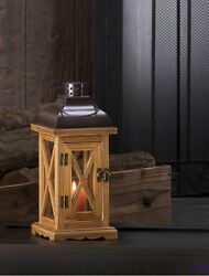 Hayloft Small Wooden Pillar Candle Lantern with Clear Glass & Black Top