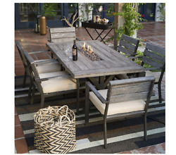Patio Furniture Dining Set 7 Piece Fire Pit Table Outdoor Family Entertain Deck
