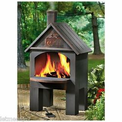 Outdoor Patio Deck Fire Pit Camping Wood Burning Stove Cabin Fireplace BBQ Oven