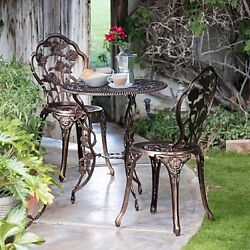 3-Piece Rose Bistro Table And Chairs Set Aluminum Cast Outdoor Garden Antique