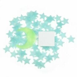 Blue 100 Pieces 3D Home Wall Ceiling Glow In The Dark Stars Moon Stickers $6.99