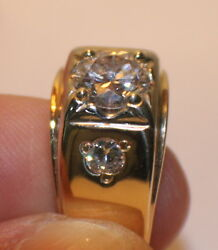 Mens Diamond Ring 1.88 TCW Gold Setting Heavy SI-1 F-G Amazing Fire and Clarity