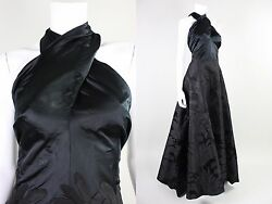 Vtg 1930s Molyneux Designer Couture French Gown Black Silk Jacquard France Dress