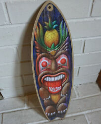 TIKI STATUE PINEAPPLE WELCOME Rustic Beach Bar Surfboard Home Decor Sign NEW $18.95