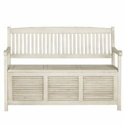 White Outdoor Home Backyard Garden Patio Porch Pool Storage Chair Seat Bench