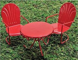 Retro Table and Chair Set Miniature Red Metal Painted decoration Indoor Outdoor
