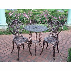 Cast Iron Rose Bistro Set 3PC  Garden Patio Outdoor Table Chairs Furniture Yard