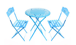 Bistro Set Metal Outdoor Patio Garden Dining Furniture Table 2 Chairs Folding
