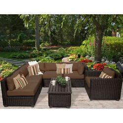 Miseno VENICE-07c-COCOA 7-Piece Outdoor Furniture Set and Club Chairs