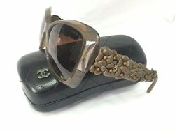 GORGEOUS CHANEL 5317Q Butterfly Sunglasses with Brown Flowers *Rare 56mm W CASE