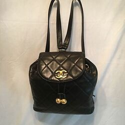 RARE - Chanel Large Black Maltese Leather Quilted Backpack