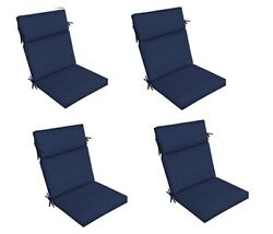 Replacement Patio Cushion Set of 4 Navy Blue Outdoor Yard Dining Seat Chair Pads