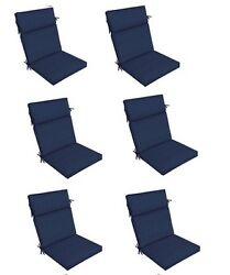 Replacement Patio Cushion Set of 6 Navy Blue Outdoor Yard Dining Seat Chair Pads