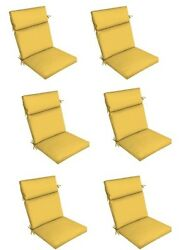 Yellow Outdoor Seat Cushion Set of 6 Replacement Dining Patio Chair Pads
