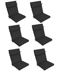 Black Outdoor Seat Cushion Set of 6 Replacement Dining Patio Chair Pad Furniture