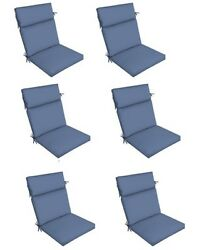 Replacement Patio Cushion Set of 6 Light Blue Outdoor Yard Dining Seat Chair Pad