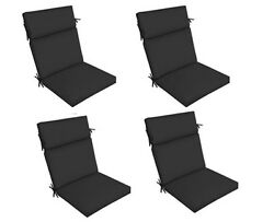 Black Outdoor Seat Cushion Set of 4 Replacement Dining Patio Chair Pad Furniture