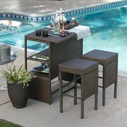 Wicker Dining Set Patio Bar 3 Piece Furniture Bistro Counter Height Stools Brown