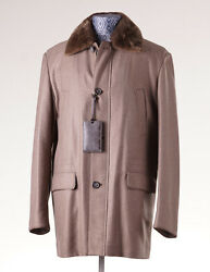 NWT $18795 BRIONI Leather-Trimmed Cashmere Coat Nutria Fur Lining M50 Overcoat