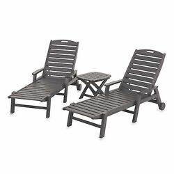 3 Piece Set Slate Grey Nautical Chaise Outdoor Yard Pool Lounge Book SnackTable