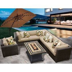 Miseno VENICE-08e-WHEAT 8-Piece Outdoor Furniture Set with Propane Fire Pit