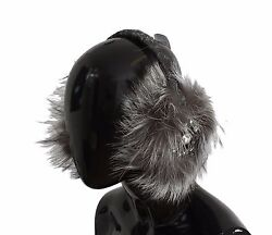 NEW $1400 DOLCE & GABBANA Ear Muffs Gray Fox Fur Crystal Paraorecchie Hair Head