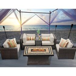 Miseno VENICE-06c-BEIGE 6-Piece Outdoor Furniture Set with Propane Fire Pit