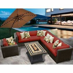 Miseno VENICE-08e-TERRACOTTA 8-Piece Outdoor Furniture Set with Propane Fire Pit