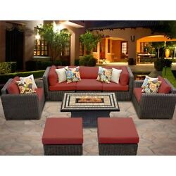 Miseno VENICE-08d-TERRACOTTA 8-Piece Outdoor Furniture Set with Propane Fire Pit