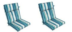 Blue Stripe Replacement Patio Chair Cushion Set of2 Outdoor Furniture Dining Pad