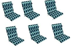 Replacement Patio Chair Cushion Set of 6 Outdoor Furniture Dining Pads Blue