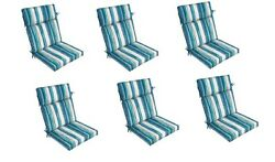 Blue Stripe Replacement Patio Chair Cushion Set of6 Outdoor Furniture Dining Pad