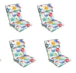 White Floral Replacement Patio Chair Cushion Set of 4 Outdoor Furniture Dining