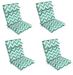 Teal Zigzag Replacement Patio Chair Cushion Setof 4 Outdoor Furniture Dining Pad