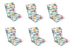 White Floral Replacement Patio Chair Cushion Set of 6 Outdoor Furniture Dining
